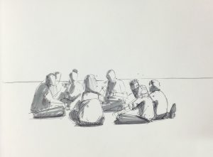 Office workers sketch